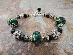 Green Lampwork and Bali Silver Beaded Bracelet by thepinkmartini, $99.99