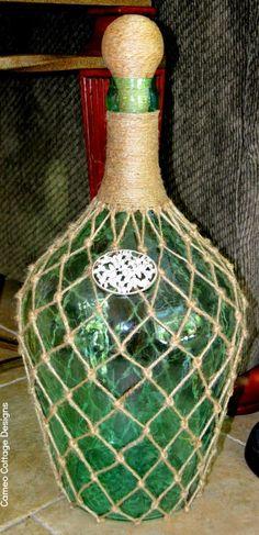 Cameo Cottage Designs: Knotted Jute Net Demijohns or Bottles DIY Tutorial Wine Bottle Crafts, Bottle Art, Wine Bottles, Glass Bottle, Plastic Bottles, Art Tutorial, Mesh Wreath Tutorial, Globe Decor, Altered Bottles