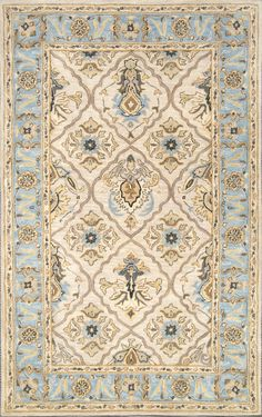 Cream and blue rug for bedroom 8.6x11.6