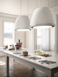 Island hood with integrated lighting ÉDITH by Elica | #design Fabrizio Crisà @elicarianuova