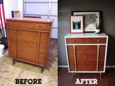 BEFORE: Salvation Army, slightly dinged side table with modern design
