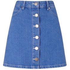 Miss Selfridge Bright Blue Denim Skirt ($35) ❤ liked on Polyvore featuring skirts, mini skirts, mid wash denim, blue a line skirt, button skirt, mini skirt, denim mini skirt and short skirts