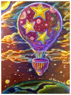 Crayons on black construction paper...  A real artist doesn't let the tools stop them.