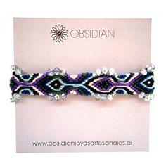 Pulsera de la amistad en mix de algodón púrpura tejido a mano y cristales...