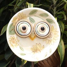 Whooo Owl Hoot Glass Plate Flower repurposed by ARTfulSalvage, $42.00