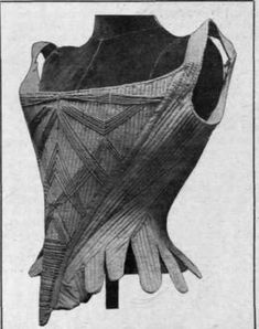 18th century corset, made of padded green silk and cords, of a straight-fronted style.