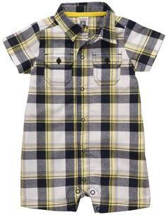 Carters Shortsleeve Plaid Romper NB24M 3 Mo *** Want to know more, click on the image. (This is an affiliate link) #BabyBoyFootiesRompers