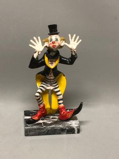 Fontanini Funky Playful Sticking Out Tongue Clown on Carrara Marble Base, Defose Italy, Hand Painted Colorful Clown by Anaforia on Etsy Pierrot Clown, Red Felt, Carrara Marble, Clowns, Base, Hand Painted, Italy, Colorful, Children