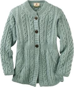Irish A-Line Cardigan: A modern update to classic cardigan-styled Aran Merino wool sweaters, this feminine sweater is artfully knitted in rows of traditional Aran honeycomb, trellis, and Irish moss stitches, each thought to symbolize good luck and good fortune.