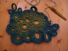Freeform Crochet in Green by Irene Lundgaard