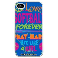 Softball iPhone/Galaxy S3 Case Hit Like a Girl - This customizable protective case is the perfect accessory for any softball player's phone. This great Cell Phone Case fits the iPhone 4, iPhone 4S, iPhone 5 and Samsung Galaxy S3.