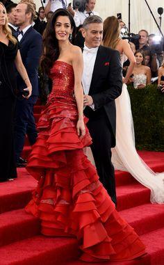 Amal Clooney & George Clooney Arrive at the 2015 Met Gala?See Amal?s Crimson, Sequin-Embellished Maison Margiela Dress!   E! Online Mobile