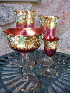 4- Matching Vintage Cranberry Glasses/Gold Overlay/Hand Painted Floral/Beautiful