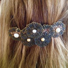 WOW!!! Only $17.00 New Listing Steampunk Barrette Steampunk Bride Non Tradional Wedding Hair Accessory Victorian Hair Jewelry Large Barrette Hair Jewelry by PunkysRooster on Etsy