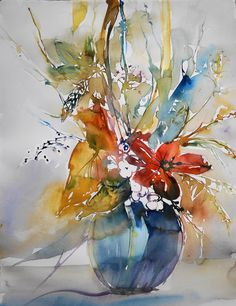 Abstract Flowers, Abstract Watercolor, Watercolor Illustration, Watercolor Flowers, Watercolor Painting Techniques, Watercolor Paintings, Tulip Painting, Arte Floral, Flower Art