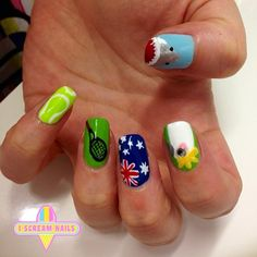 Loving all the tennis inspired nails! We did these for @gracecisternino 💖 #nails #nailart #melbourne #melbournenailart #iscreamnails