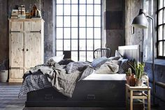 IKEA - New rustic style inspired pieces in solid pine like FJELL bedroom series Affordable Furniture, Loft Living, Ikea New, Home Bedroom, Bedroom Decor, Furnishings, Interior Design Bedroom, Monochrome Bedroom, Ikea Bedroom