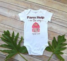 Farm Help on the Way, Pregnancy Announcement, Farm Baby, Pregnancy Reveal Onesie, Farm Onesie, Country Baby, Expecting Farm Onesie, Country Maternity photoshoot