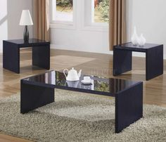 Modern Glass Coffee Table Set With One Coffee Table And Two End Tables In Black Finish. Modern Black Coffee Table, Black Glass Coffee Table, 3 Piece Coffee Table Set, Small Coffee Table, Coffee Table With Storage, Glass Table Set, Living Room Table Sets, Dining Sets, Table Settings