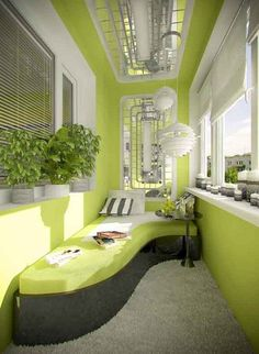 Go all out with modern apartment balcony design. This bright looking décor uses a lemon green color theme coupled with white accents. The artistically shaped bench slash bed makes a great addition to the already stunning interior balcony décor. Interior Balcony, Apartment Balcony Decorating, Apartment Balconies, Apartment Living, Small Balcony Design, Small Balcony Decor, Balcony Ideas, Balcony Decoration, Small Conservatory