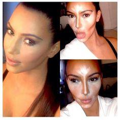 Full highlight and contour Kim K makeup.