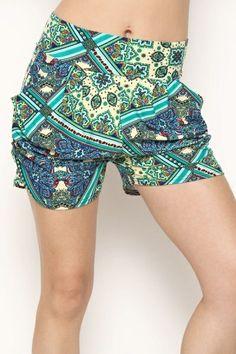 Pattern print harem shorts.