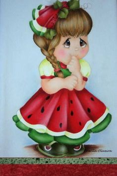 she is going to look sweet in my kitchen Tole Painting, Fabric Painting, Painting On Wood, Watermelon Girl, Country Paintings, Easy Paintings, Painting Patterns, Cute Art, Embroidery Patterns
