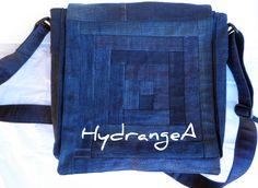 Recycled denim messenger bag