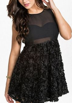 Black Sleeveless Backless Hollow-out Dress
