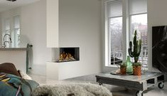 Room Divider Medium Right 3. Deze gashaard van Bellfires is een markante blikvanger in elk interieur.