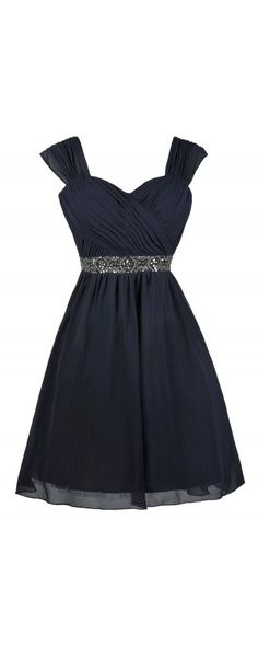 Lily Boutique Kegan Gunmetal Embellished Chiffon Dress in Navy, $80 Navy Bridesmaid Dress, Navy Party Dress, Cute Navy Dress www.lilyboutique.com