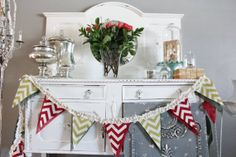 Christmas Chevron Bunting  Burlap and chevron red by HustleMama, This needs to be part of my holiday decor!!