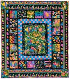 Jungle Songs Quilt Pattern, Free Quilt Pattern By Nancy Mahoney, Fabrics by Laurel Burch.