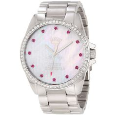 Juicy Couture Stella Stainless Steel Bracelet Watch (1.615 ARS) ❤ liked on Polyvore featuring jewelry, watches, bezel watches, stainless steel wrist watch, bezel jewelry, water resistant watches and stainless steel bracelet watch
