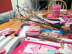 A combination of goodies sent by Martha Stewart Crafts and those we had on hand or purchased at Michael's Craft Store.