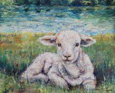 The Lamb original painting on canvas, custom oil, resting sheep, Jesus Christ religious symbolic art Watercolor Animals, Watercolor Art, Sheep Paintings, Lion And Lamb, Symbolic Art, Sheep Art, Religious Art, Religious Paintings, Painting Edges