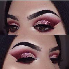 Pink glitter cut crease eyeshadow look