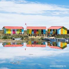 These houses on the Ccapi Uros islands are bright, colorful, and beautiful as they reflect off Peru's Lake Titicaca. Operation Blessing is providing safe water and improved educational opportunities for the people who live in this remote area.