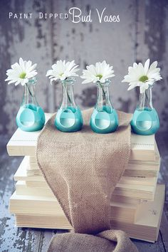 Paint Dipped Bud Vases for Mother's Day