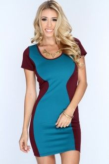 Plum Teal Two Tone Short Sleeve Bodycon Dress