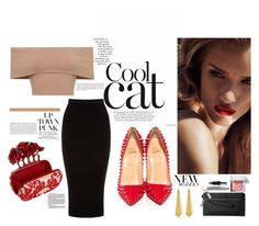 """Cool Cat"" by dora031 ❤ liked on Polyvore featuring Warehouse, Christian Louboutin, Bobbi Brown Cosmetics, Alexander McQueen, Panacea, Arco, croptop, McQueen, Louboutin and pencilskirt"