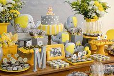 Muitos mimos para o CHÁ DE BEBÊ DO MURILO, meu sobrinho, tema elefantinho cinza e amarelo, é sempre delicioso decorar chá de bebê, é um...