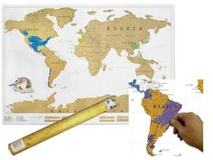 LARGE SCRATCH OFF WORLD MAP POSTER PERSONALIZED TRAVEL 75% OFF