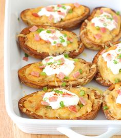 Twice-Baked Potato Skins with Chipotle, Garlic & Cheese Recipe - Creamy, crispy and impossible to resist! | sliceofkitchenlife.com