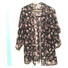 Mudd Floral Kimono Black and pink floral Kimono, medium length and light, flowy fabric - purchased from Kohls, brand: Mudd Mudd Tops