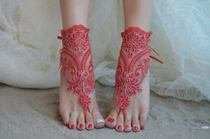 Free Ship red Beach wedding barefoot sandals Beach by UnionTouch Beach Wedding Sandals, Bridal Sandals, Beach Shoes, Wedding Shoes, Wedding Beach, Beach Weddings, Beach Sandals, Lace Wedding, Red Accessories