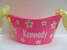 Personalized oval toy, gift or storage tub bucket  basket-  Easter basket. 12.00, via Etsy.