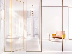 Contemporary white decoration, white and gold interior design see more inspirations at: http://covetedition.com/
