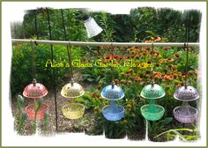 candy colored hanging birdfeeders