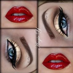 gold eyes and red lips = Wonder Woman makeup Red Lip Makeup, Love Makeup, Skin Makeup, Beauty Makeup, Makeup Looks, Makeup Ideas, Gorgeous Makeup, Makeup Geek, Black Makeup